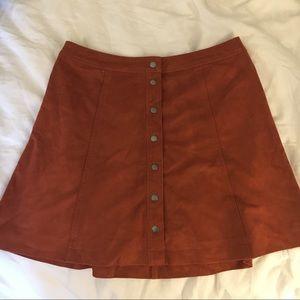 Faux Suede Burnt Orange Mini Skirt
